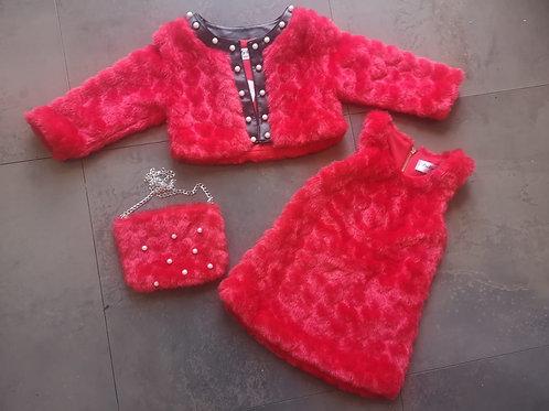 Girls 3pc fluffy dress set RED