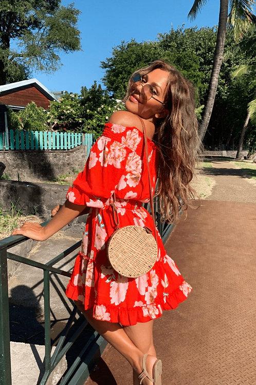 Red Floral Frill Hem Bardot Mini Dress