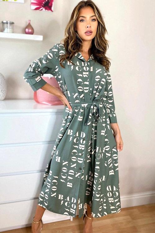 LORETA PRINTED MIDAXI SHIRT DRESS