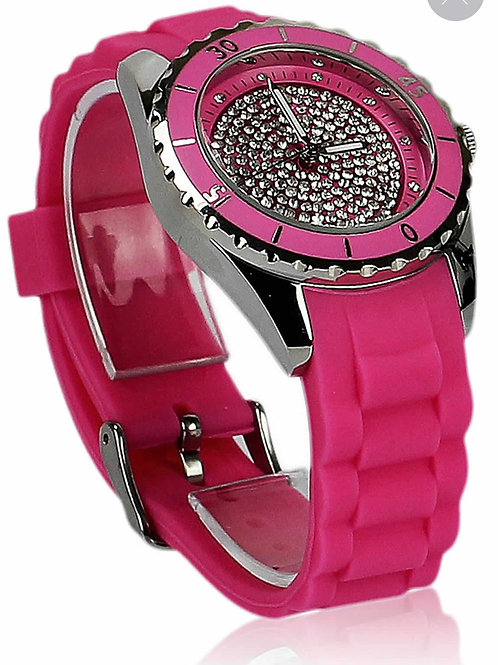 Fuchsia Circle Diamante Watch
