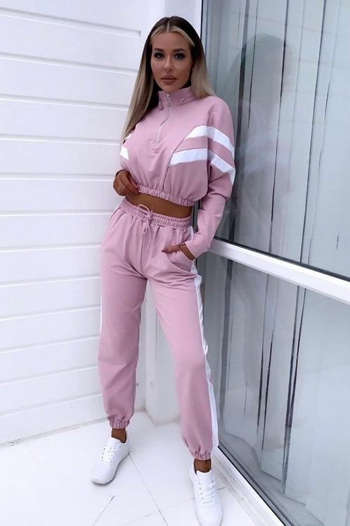 Pink White Zip Front Striped Detail Jogger Lounge Set
