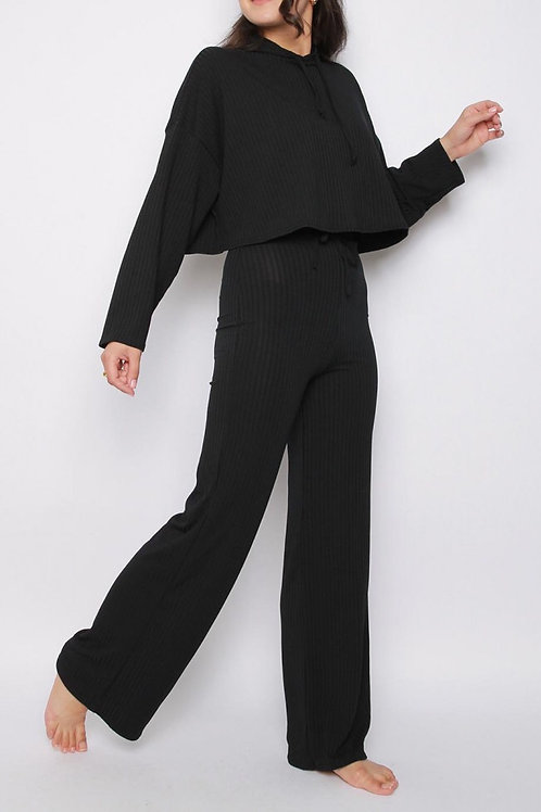 HOODIE & WIDE LEG TROUSERS RIBBED CO-ORD LOUNGE SET