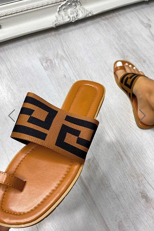 Tan PU Monogram Strap Toe Post Slider Sandals