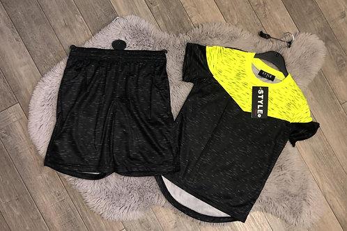 Boys Yellow & Black Shorts Set