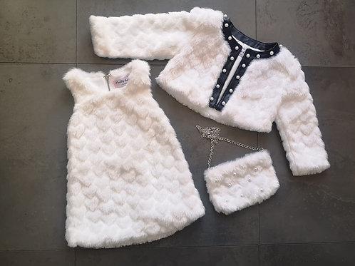 Girls 3pc Fluffy dress set  WHITE