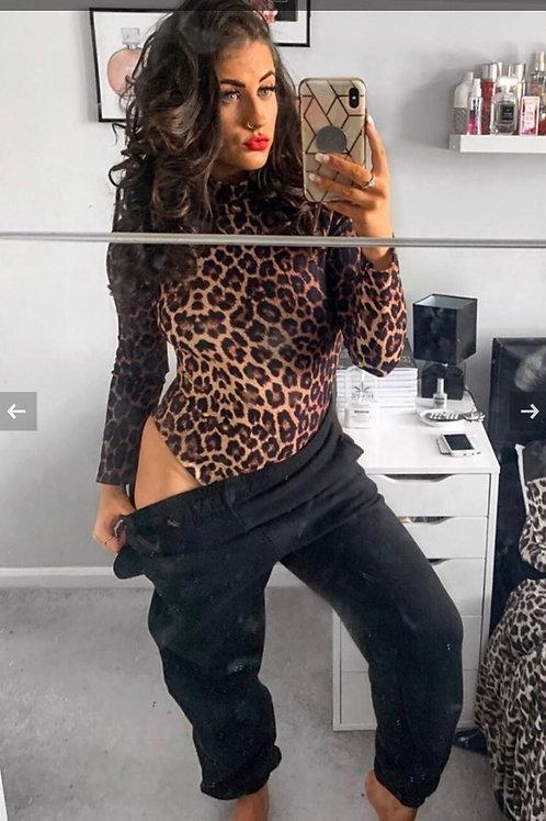 Leopard Print High Neck Long Sleeve Bodysuit