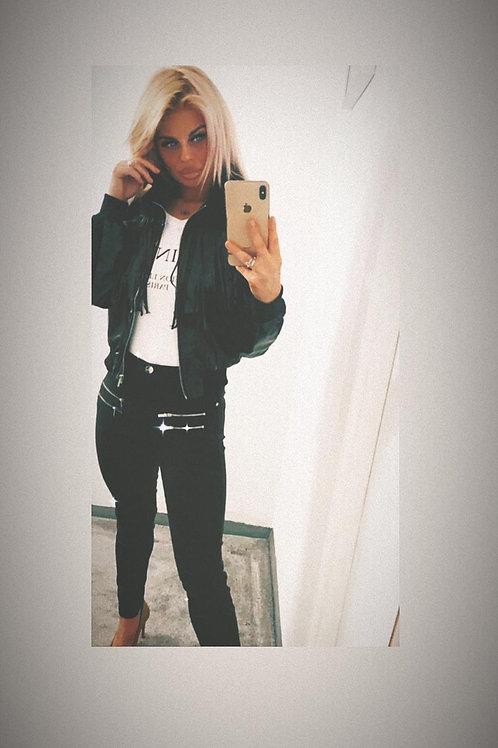 Black Faux Leather Tassel Trim Bomber Jacket