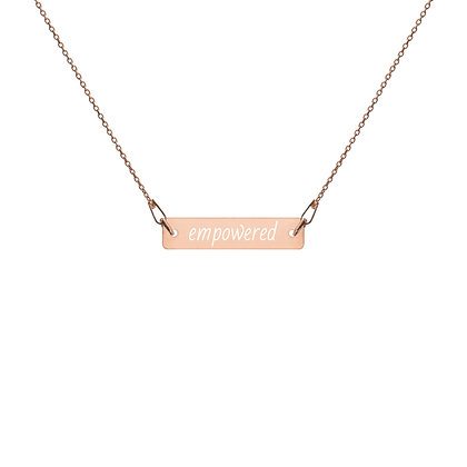 Empowered Engraved Silver Bar Chain Necklace