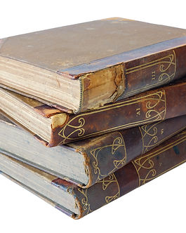 Pile of old books on a white background,