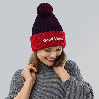 Good Vibes Pom-Pom Beanie