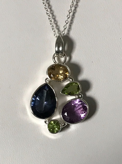 Genuine Multi Stone Crystal Silver Sterling Charged Necklace