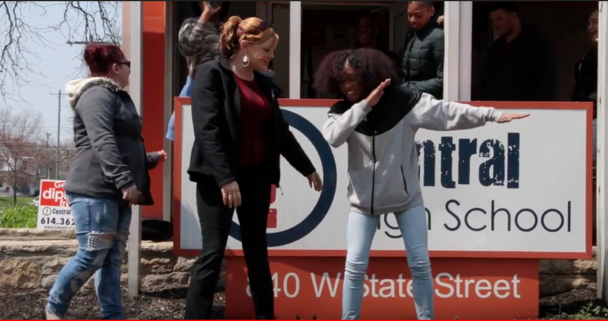 Kids and staff at Central High School goofing off for a music video