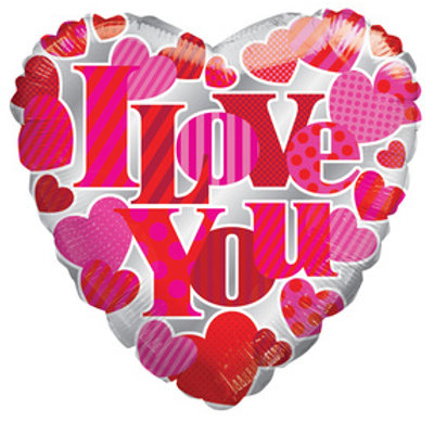 "18"" I LOVE YOU HEART SHAPE HEARTS AROUND HELIUM FOIL BALLOON"