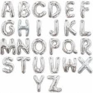 34'' Silver Helium Foil Letters