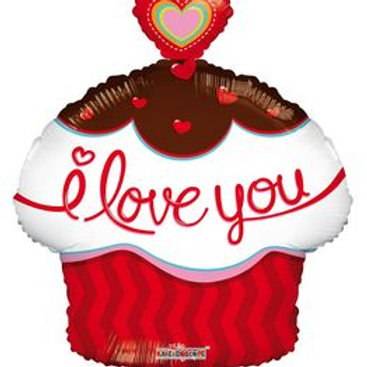 "cupcake balloon     cupcake balloon    18"" CUP CAKE SHAPE I LOVE YOU HELIUM FOIL"