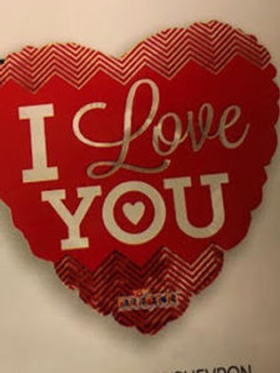 "18"" I LOVE YOU CHEVRON HEART SHAPE HELIUM FOIL BALLOON"