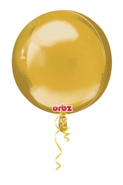 "16"" ORBZ SHINY GOLD SPHERICAL ROUND BALLOON"
