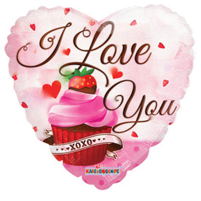 "18"" I LOVE YOU HEART SHAPE CUP CAKE HELIUM FOIL BALLOON"