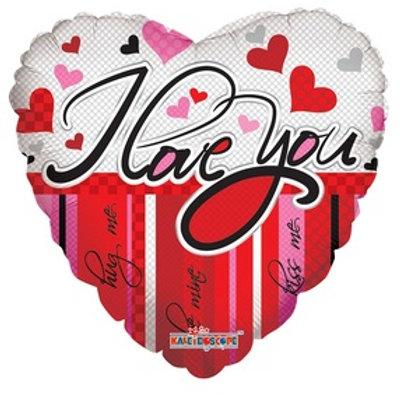 "18"" I LOVE YOU LINES & HEARTS BALLOON"
