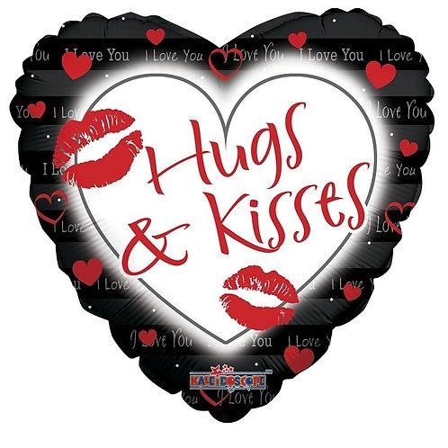 """18"""" HUGS & KISSES HELIUM HEART SHAPE FOIL BALLOON"""