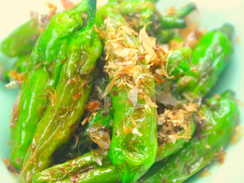 Fried Green Peppers with Bonito Flakes