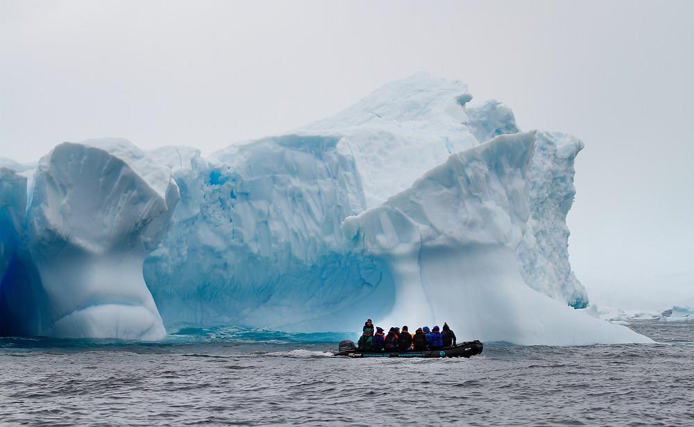 Zodiac boat trip in the Antarctic