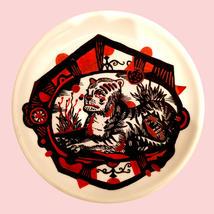 A beast rest , posca on ceramic plate S.