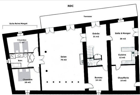 Poudenas - Le Bastion du Prince Noir - Plan du Plan du rez-de-chaussée