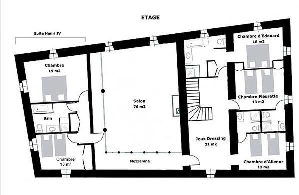 Poudenas - Le Bastion du Prince Noir - Plan de l'étage