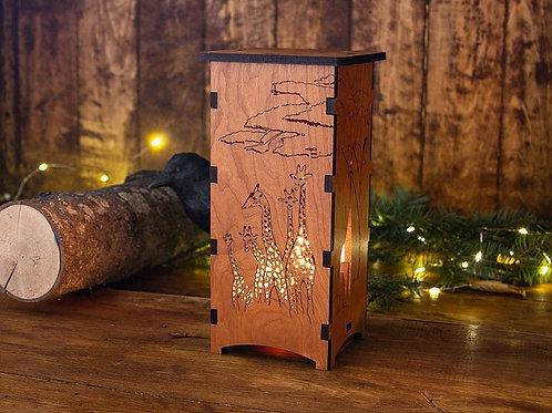 Wood Giraffe Lamp by Four Crows Creative Studio