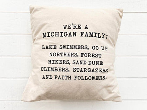 Michigan Family Pillow by Brush & Timber