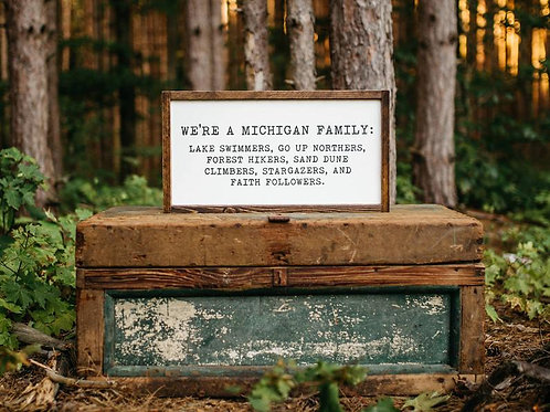 Michigan Family Wood Sign by Brush & Timber