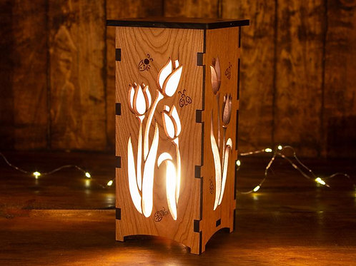Wood Tulip Lamp by Four Crows Creative Studio