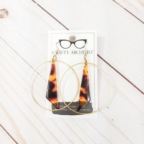 Acrylic and Raw Brass Hoops Tortoise Shell