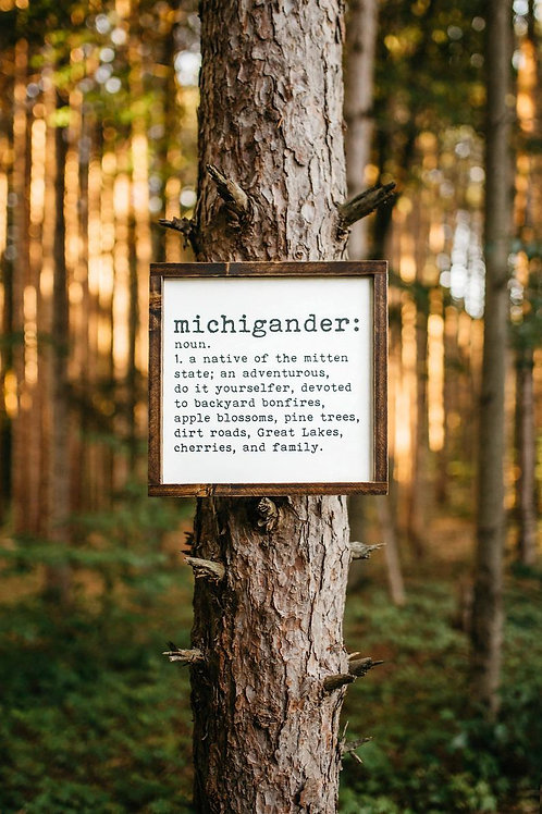 Michigander Wood Sign by Brush & Timber