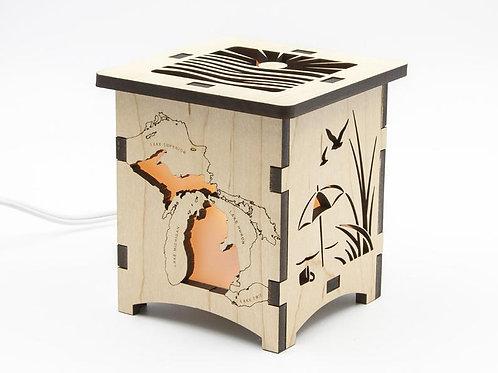 Michigan Peninsula Wood Lamp by Four Crows Creative Studio