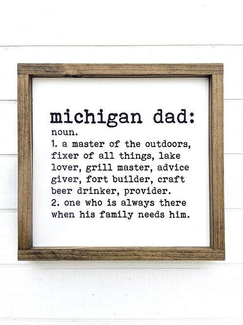 Michigan Dad Wood Sign
