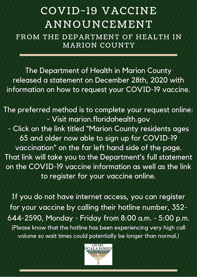 Call the Marion County Health Department for COVID-19 Vaccine Information