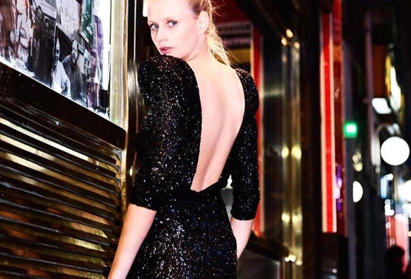 Vestido Aura clásico negro lentejuela