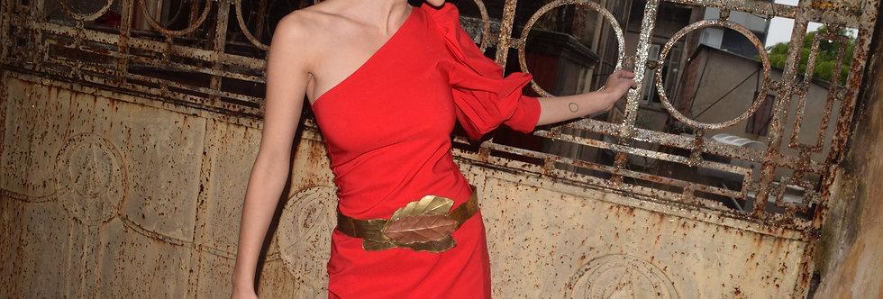 Vestido elektra un hombro passion red