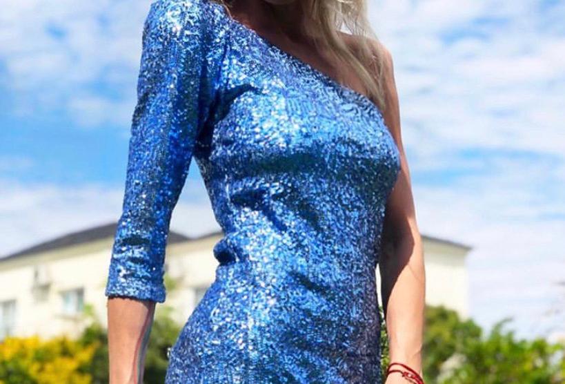 Vestido elektra paiette turquesa