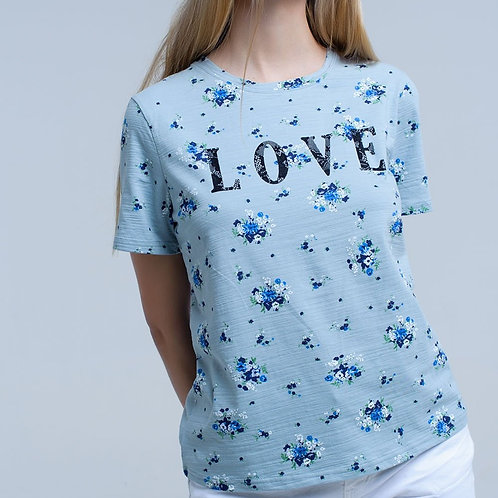 Blue T-Shirt With Floral Print and Logo