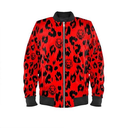 Women's Red Leopard Bomber Jacket