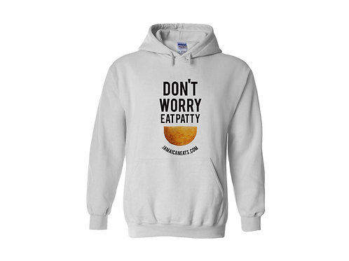 Unisex Don't Worry Eat Patty White Hoodie
