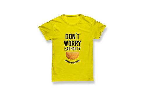 Unisex Don't Worry Eat patty Yellow T-Shirt