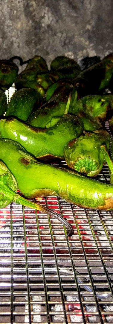 Hatch Green Chiles Roasting