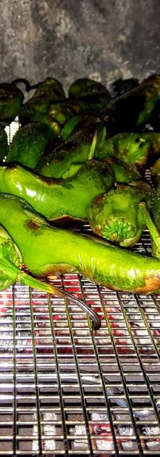 Hatch Green Chiles Roasting