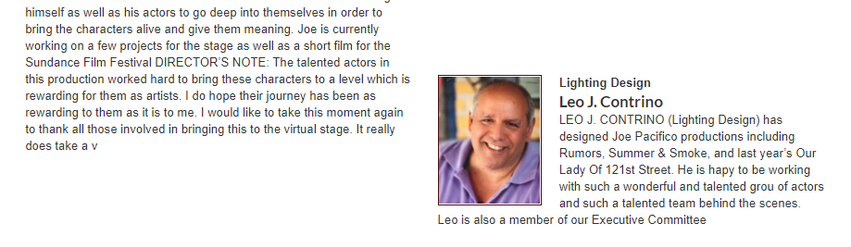 """Creative Team  for """"Four Short Plays by Paul Espel"""""""