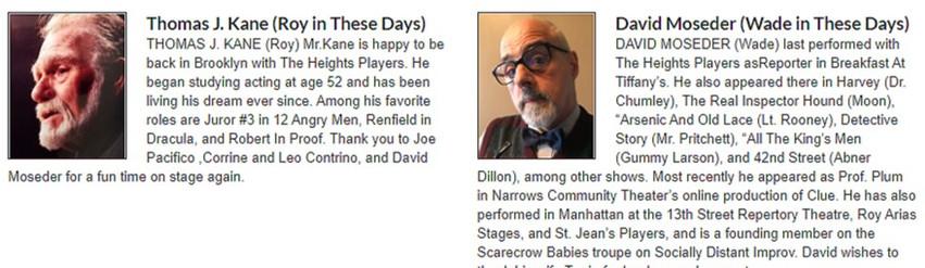 "Meet the Cast of ""Four Short Plays by Paul Espel"""