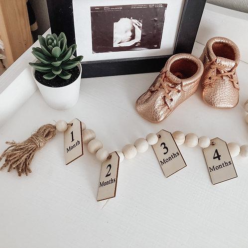 Milestone Wood Bead Garland   Baby Monthly Milestones